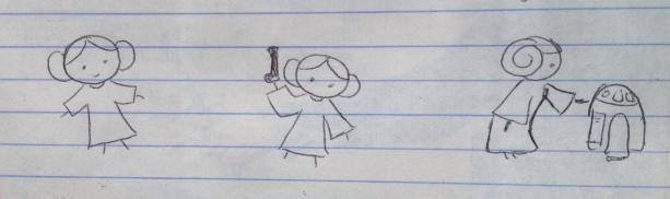 Emily's Leia doodles