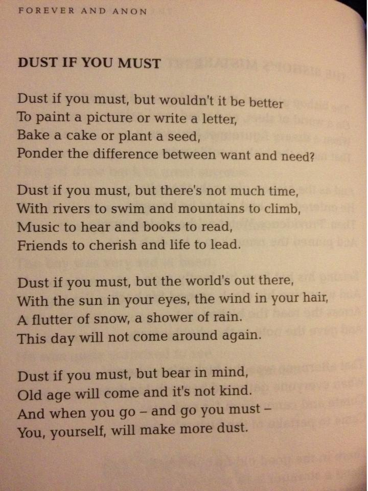 Dust if you must… a poem on the perils of housework.
