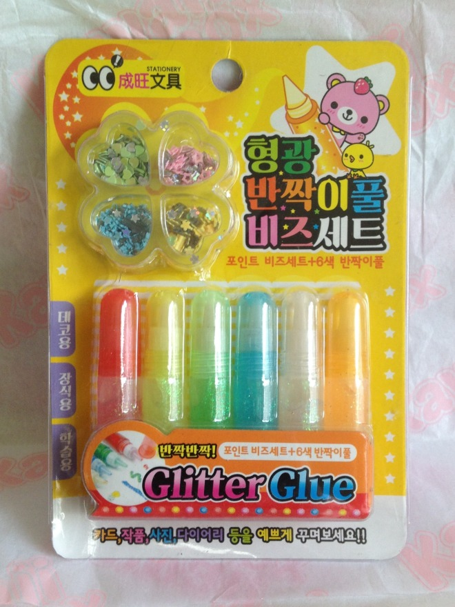 This made my daughters eyes light up - six colours of glitter glue, plus four colours of hearts, stars, and flowers to stick.