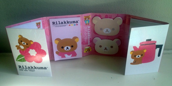 This is a very cute fold-out collection of post-it notes of different shapes and sizes, all featuring the equally cute Rilakkuma character (roughly translated as 'Relax Bear'.